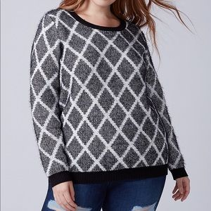 Lane Bryant Eyelash Knit Graphic Crewneck Sweater
